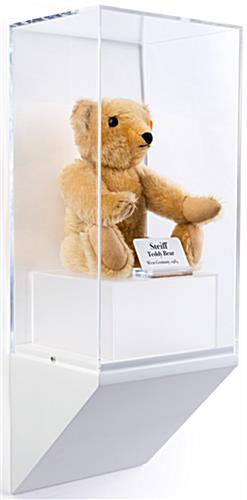 Wedge pedestal museum wall display shown with teddy bear collectible
