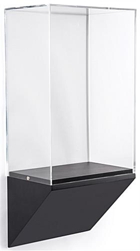 Wedge pedestal wall display case with acrylic vitrine