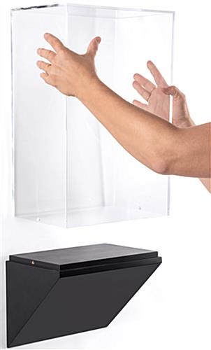 Wedge pedestal wall display case with lift-off enclosure