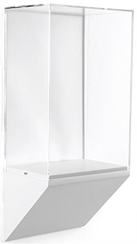 Wedge pedestal museum wall case with acrylic vitrine