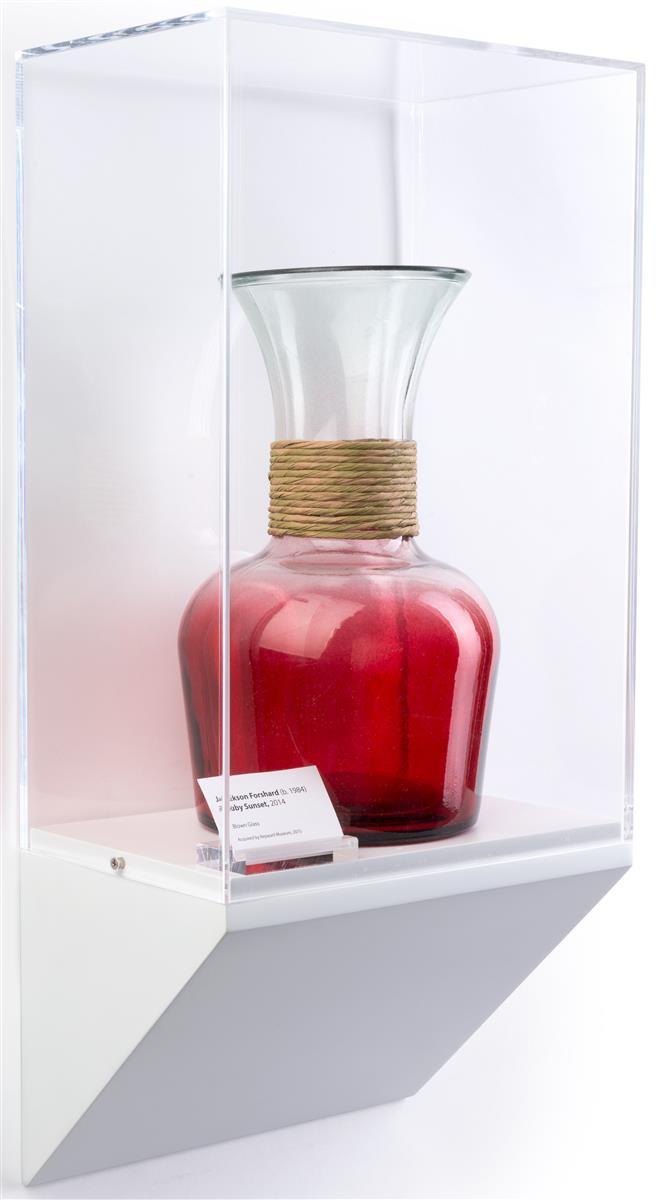 wedge pedestal museum wall case acrylic vitrine on white base. Black Bedroom Furniture Sets. Home Design Ideas