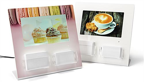 Gift card display with digital screen features custom printing option