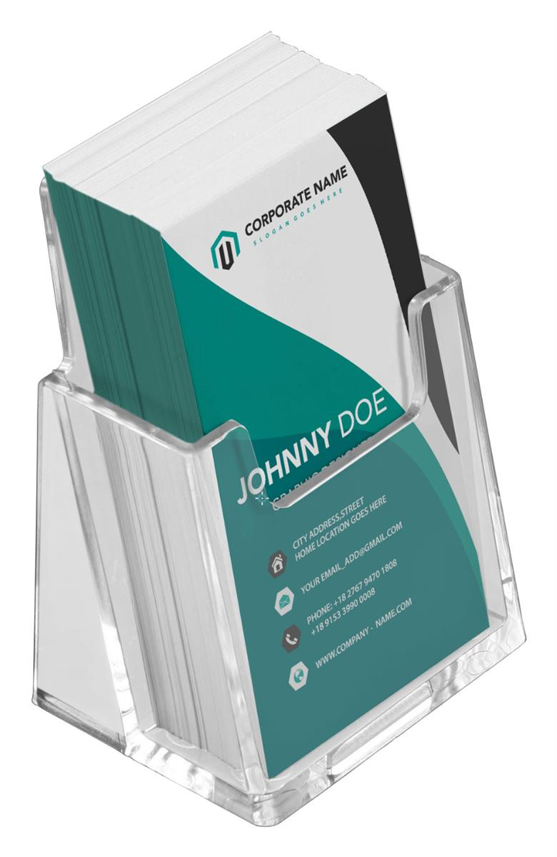 Single Pocket Business Card Holder for Tabletop, for Vertical Business  Cards - Clear
