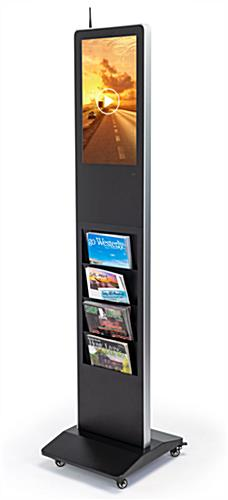Freestanding magazine rack digital signage with rolling wheels