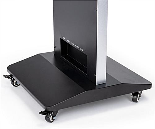 Freestanding magazine rack digital signage with smooth gliding locking casters