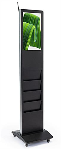Freestanding magazine rack digital signage with Bluetooth capability