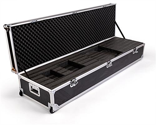 Black travel case for D2G1 digital magazine display with fabric strap to secure the top of the case at a 90 degree angle