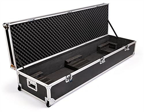 Black travel case for DG21 digital magazine displays with padded interior