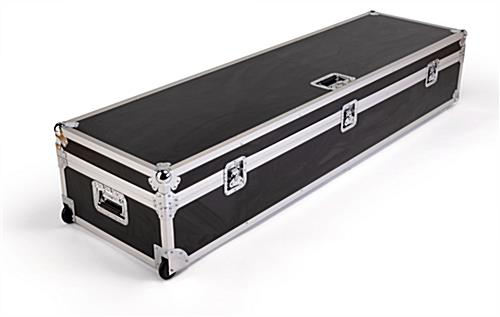 Black travel case for DG21 digital magazine displays with silver aluminum framing