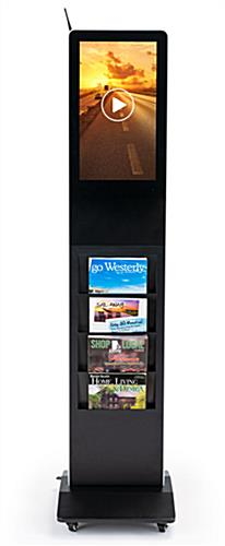 Magazine rack digital display system with four literature pockets