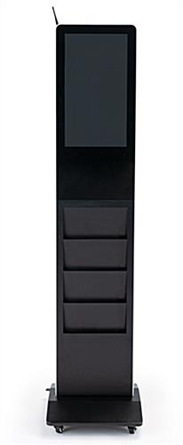 Modern magazine rack digital display system with black finish