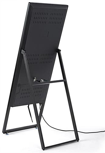 a-frame digital sign with folding hinge