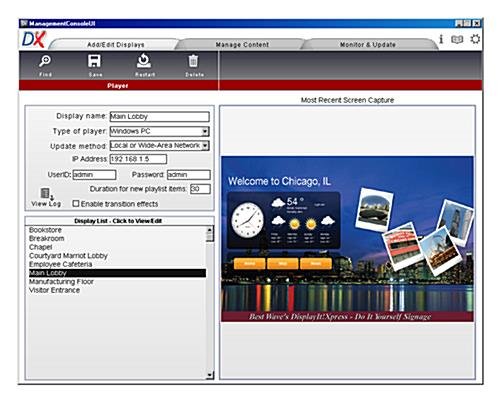 setup screen on portable LCD digital signage player software