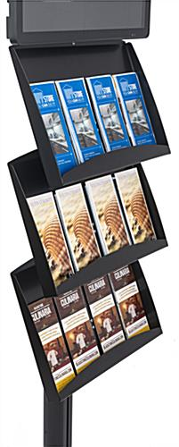 Brochure stand with digital sign with 3-tiered literature holders