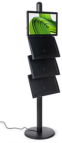 Brochure stand with digital sign and 3 literature shelves
