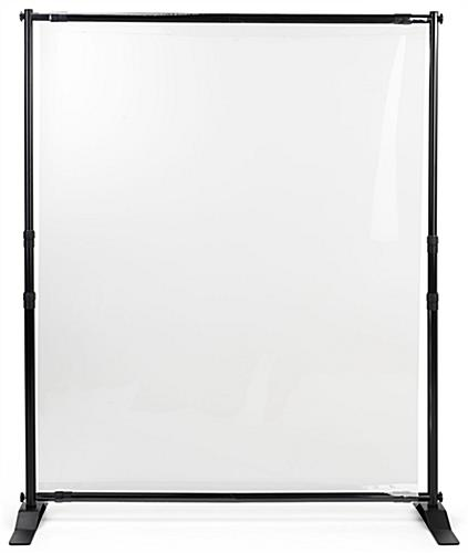 Sneeze shield room divider with clear PVC screen and aluminum frame