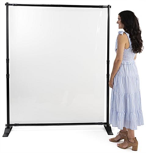 Sneeze shield room divider with 6 foot height and clear barrier