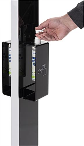 Double sided digital signage with sanitizer station and UV pre-printed graphics