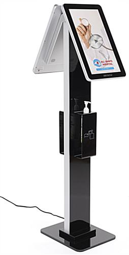 ADA compliant double sided digital signage with sanitizer station