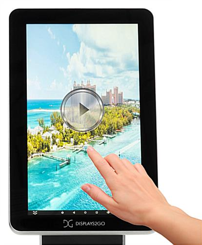 Touchscreen pedestal stand with easy to navigate media screen