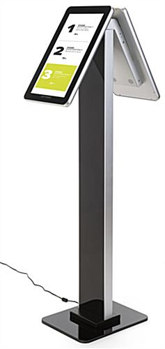 Double-sided interactive kiosk stand with portrait orientation and glossy finish