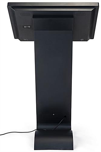Horizontal touch screen display floor stand with black powder coated finish