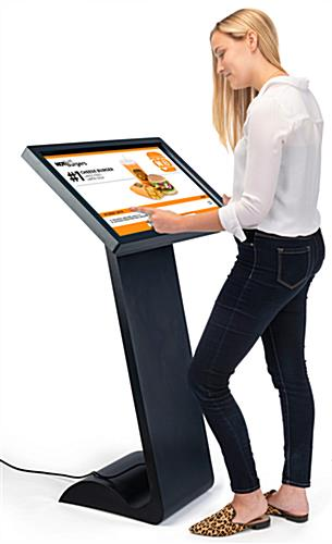 Horizontal touch screen display floor stand with user friendly design
