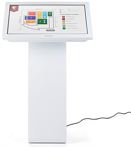 White touch screen monitor kiosk with 32 inch WLED display