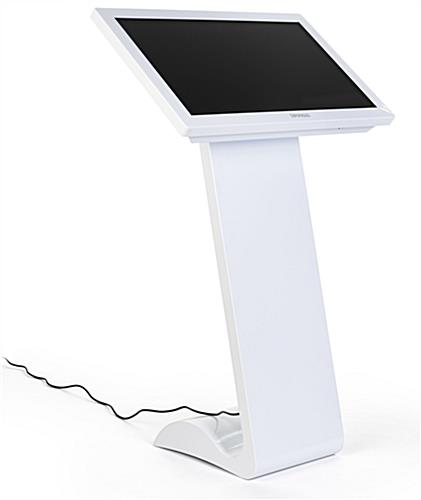 White touch screen monitor kiosk is wifi enabled