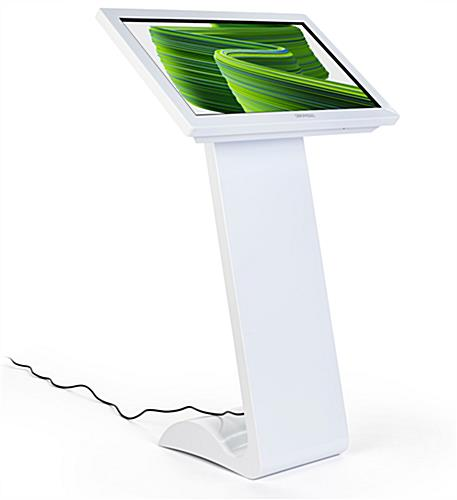 White touch screen monitor kiosk with Android 7.1 operating system
