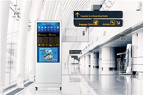 Digital signage display with tempered glass panel and ultra modern aesthetic