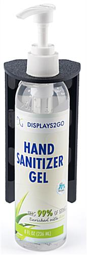 Hand sanitizer bottle mount with wall or surface mount placement style