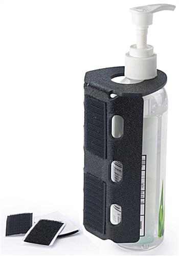 Hand sanitizer bottle mount with two pre-drilled holes