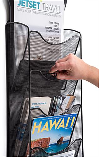 Magazine wall rack with digital sign with easy-to-install pocket dividers