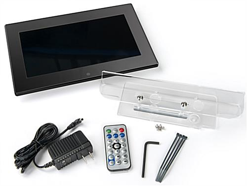 Digital screen brochure stand shown with hardware