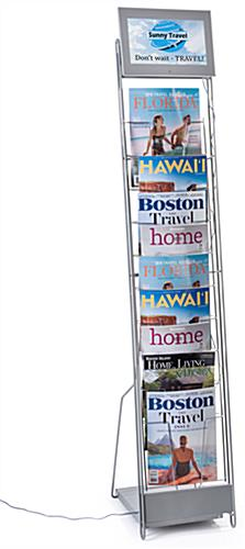 Digital signage video literature rack with 10 pockets