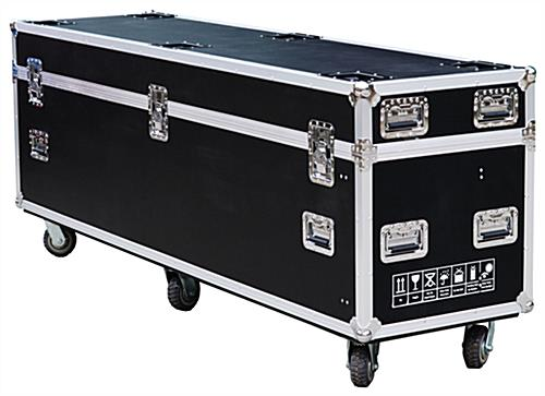 LED poster screen transport case with six rolling wheels
