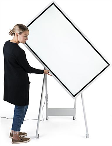 Interactive digital flipchart display with rotating screen