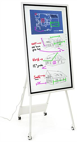 Interactive digital flipchart display with 55 inch touch screen