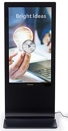Double-sided digital non-touch display has a black housing