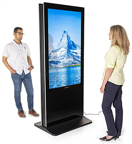 Double-sided digital non-touch display with user-friendly features