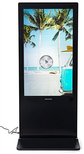 Double-sided digital vertical touchscreen kiosk with multimedia capabilities