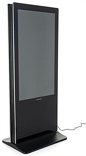 Double-sided digital vertical touchscreen kiosk features black metal case