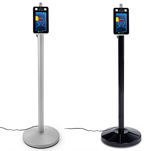 Non-contact body temperature screening kiosk with black or silver base color options