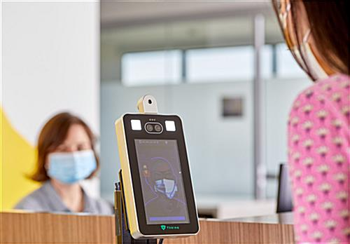 Non-contact body temperature screening kiosk with  +/-0.5°F accuracy