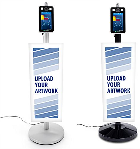 Contactless temperature scanning kiosk with custom signage offered in silver and black floor standing base