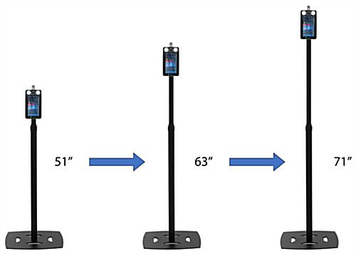 Adjustable height temperature kiosk with height range of 51 inches to 71 inches