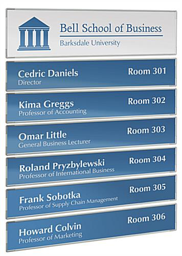 7-Panel Office Directory with Header and Six Name Plates