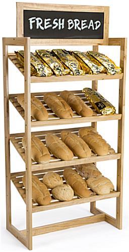 36w Bakery Display Rack 4 Shelves Chalkboard Header Wood Oak