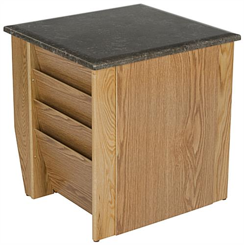 "Medium Oak Magazine End Table, 19"" Overall Depth"